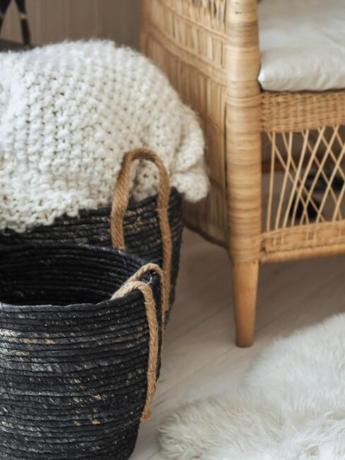 zwarte mand voor rotan stoel