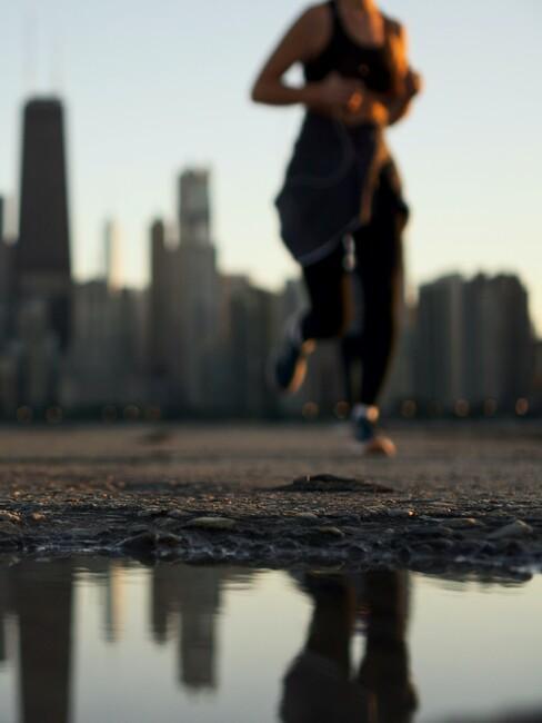 Vrouw aan het rennen in New York