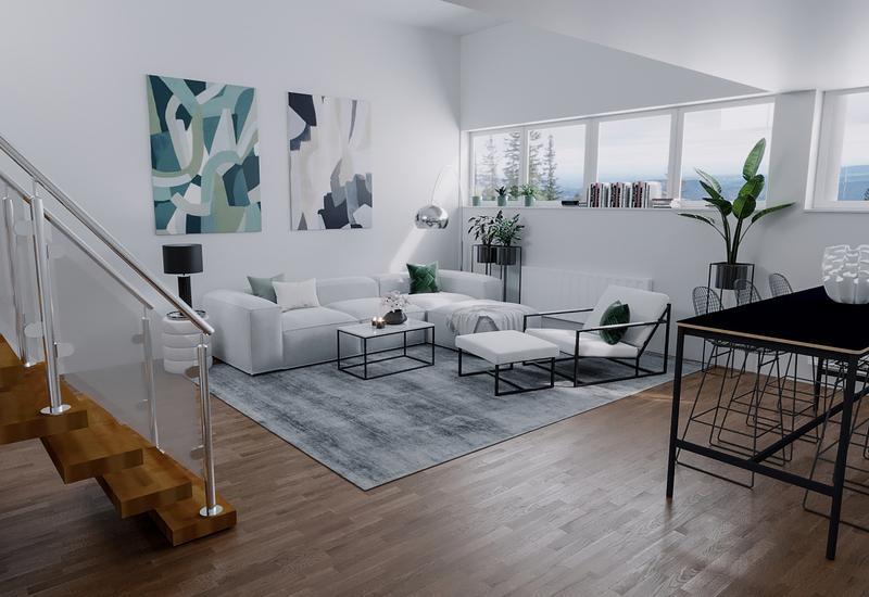 3-D interieurontwerp van een woonkamer in moderne stijl