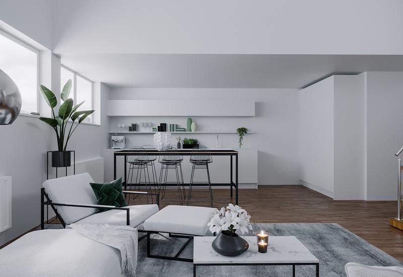 3-D interieurontwerp van een kleine woonkamer in moderne stijl