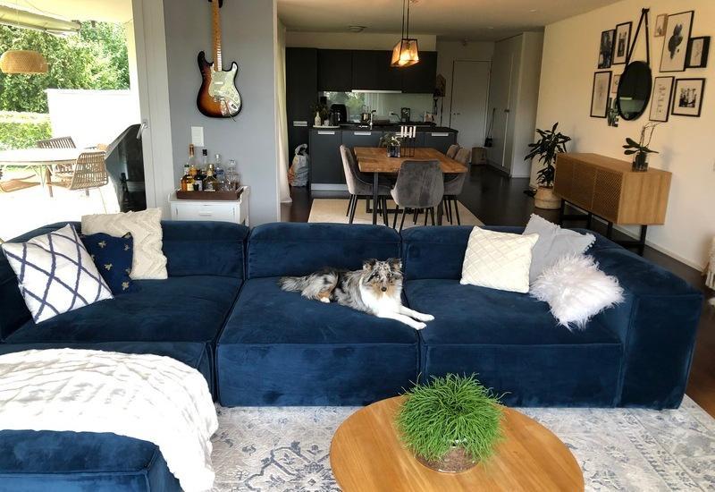 Grote open woonkamer met blauwe bank en ronde houten salontafel