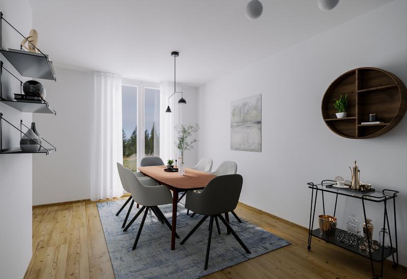 3-D interieurontwerp van een kleine woonkamer