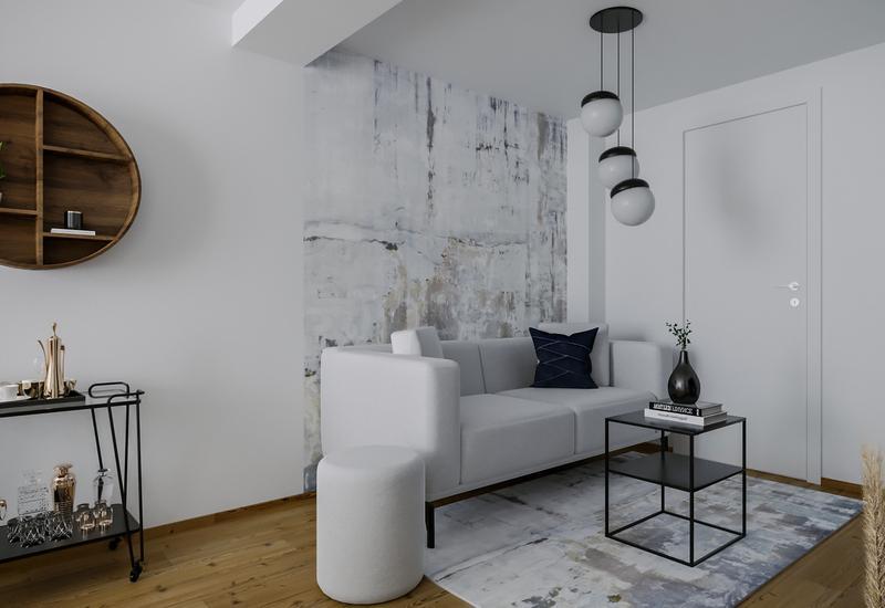 3-D interieurontwerp van een kleine woonkamer in grijs tinten