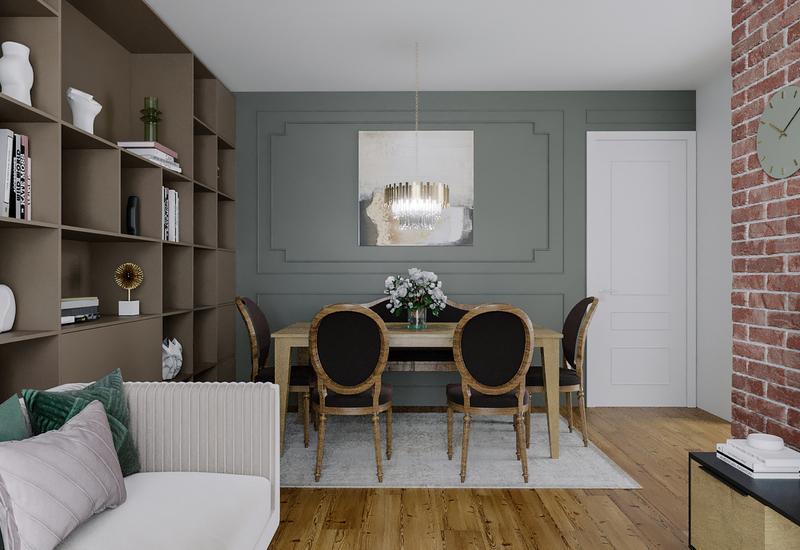 3-D interieurontwerp voor ruim huis in luxe herenhuisstijl