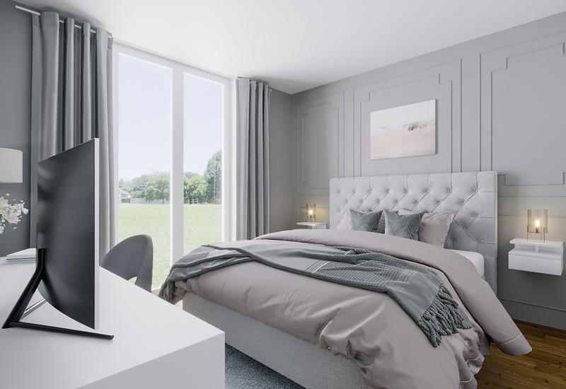 3-D interieurontwerp van slaapkamer voor ruim huis in luxe herenhuisstijl