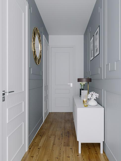 3-D interieurontwerp van een gang voor ruim huis in luxe herenhuisstijl