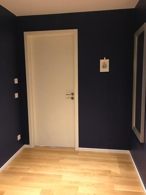 Een hal met blauwe muren in een appartement