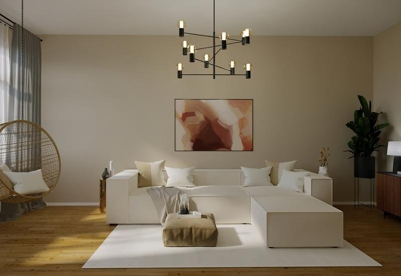 3-D interieurconcept van een licht beige woonkamer