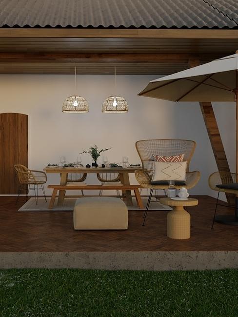3-D interieurontwerp van een overdekt terras