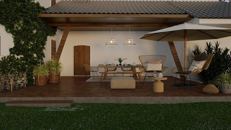 3-D interieurontwerp van een overdekt terras in mediterrane stijl