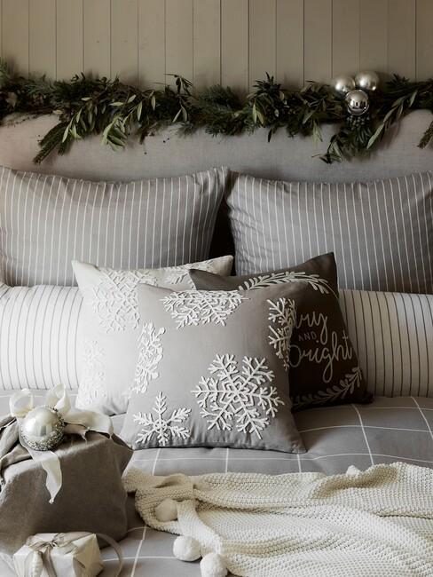 Grijs dekbed met kerst versiering