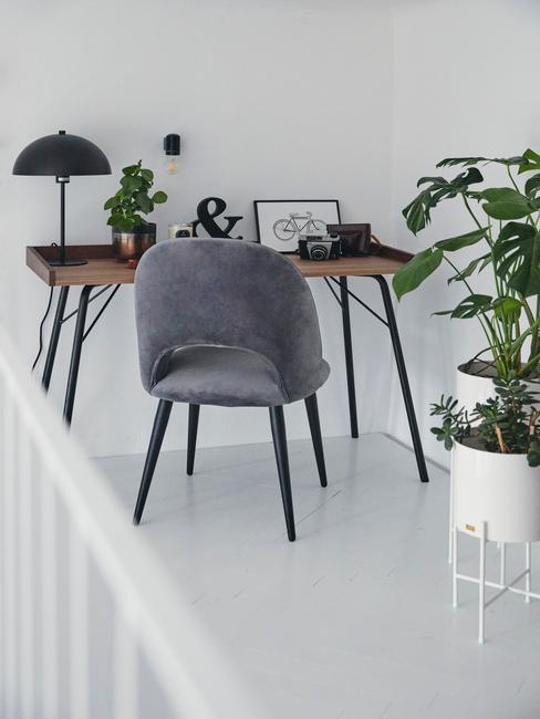 wnętrze biura z drewnianym biurkiem, szarnym krzesłem oraz roślinami w doniczce