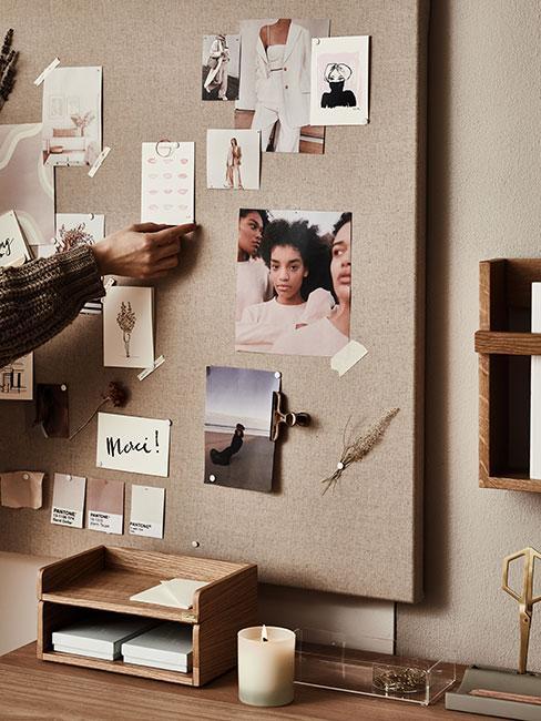 Tablica moodboard ze zdjęciami mody, kolorami i tkaninami