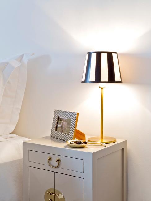 Biała sypialnia z białą szafką nocną z czarno-białą lampką
