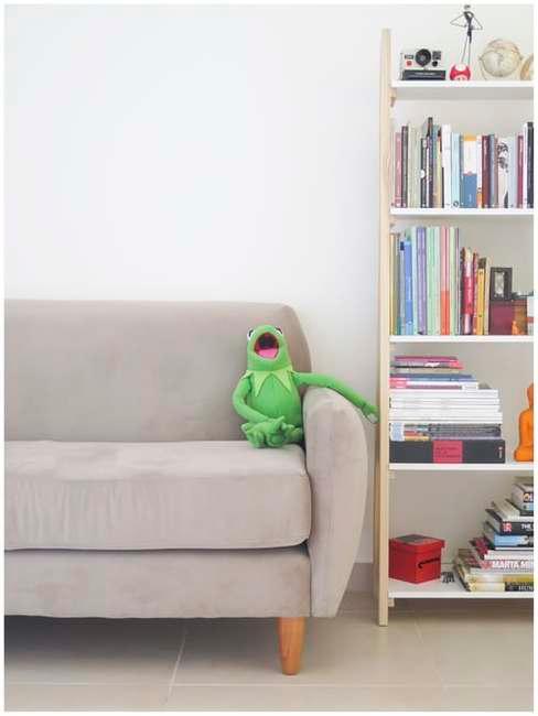 Szara kanapa oraz regał na którym ułożone są książki i zabawki