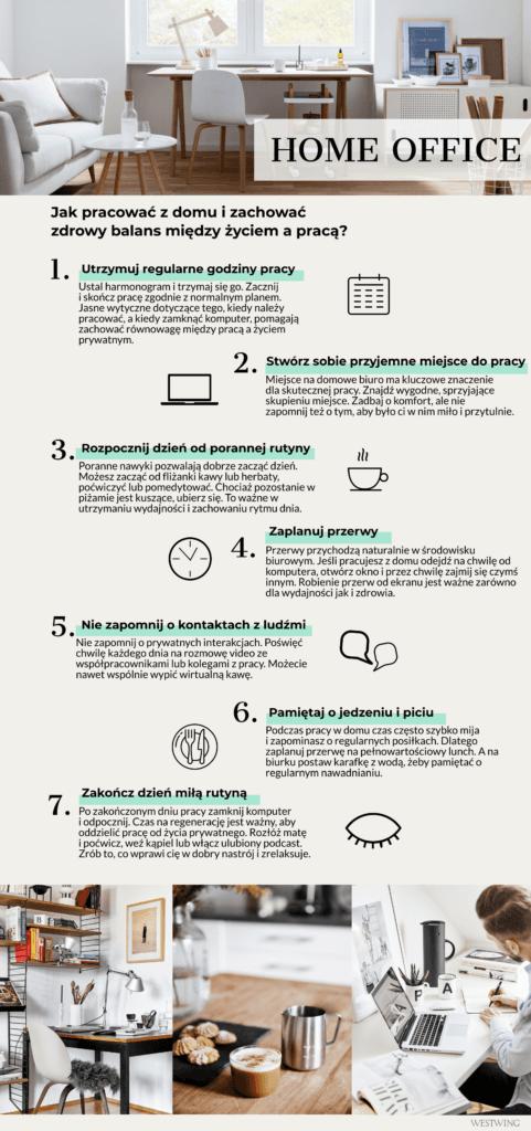 Infografika ze wskazówkami jak pracować z domu i zachować work-life balance
