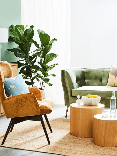 Salon w kolorze pistacjowym ze skórzanym fotelem