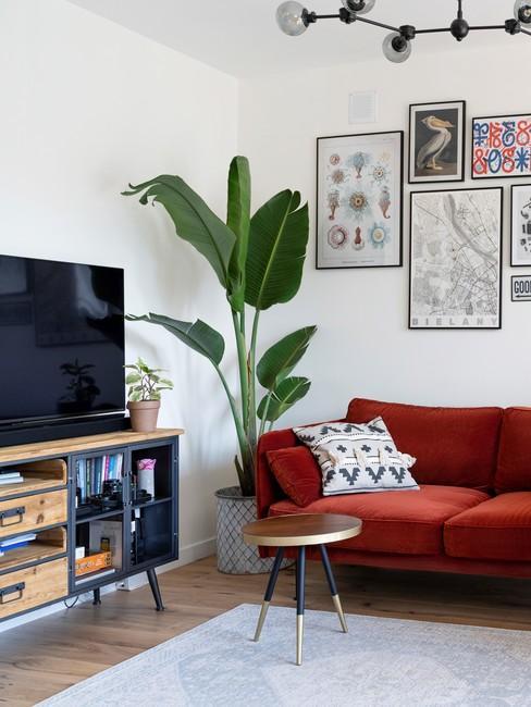 Biały salon z galerią ścienną, czerwoną sofą, dużą rośliną oraz telewizorem