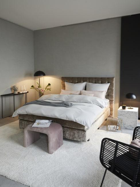 Sypialnia w stylu glamour z aksamitu