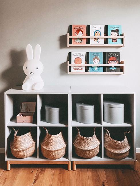 Zbliżenie na miejsce do przechowywania w pokoju dziecięcym