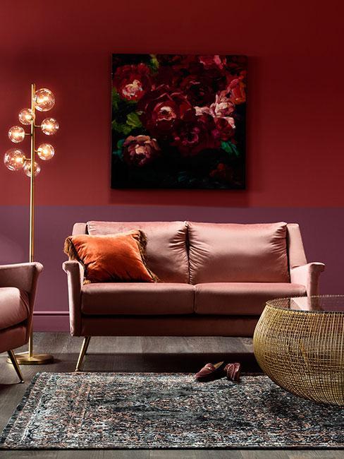 Salon glamour w purpurze i fiolecie