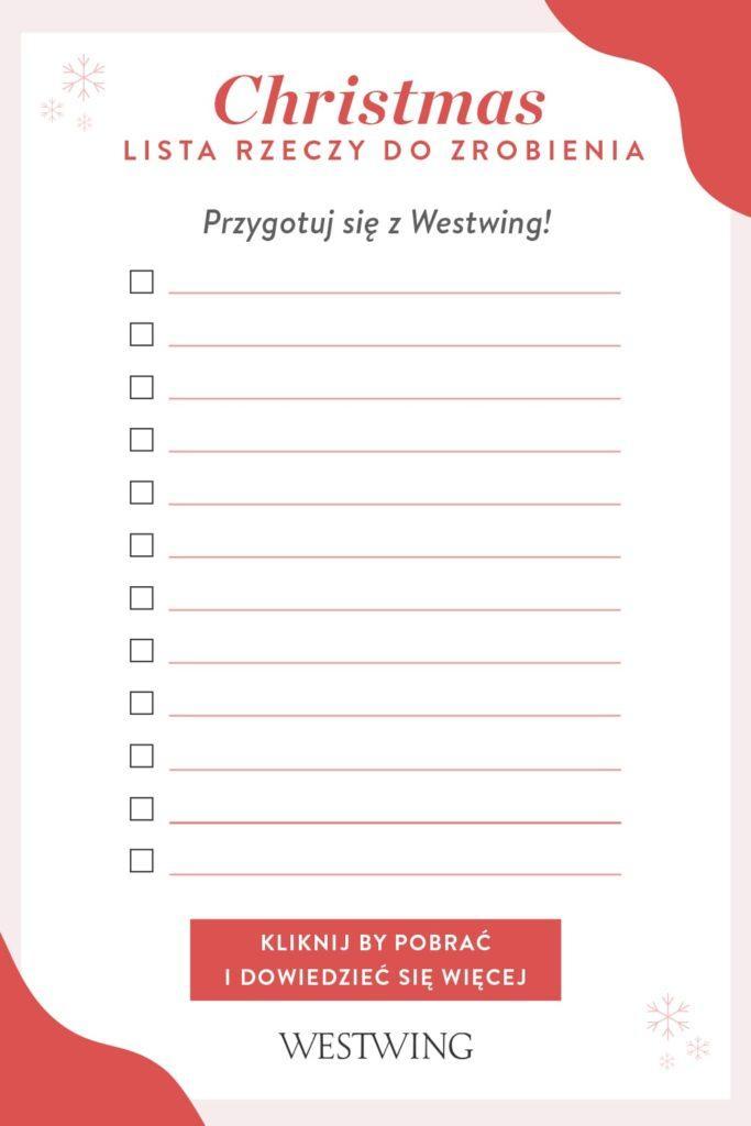 Czerwona checklista do przygotowań świątecznych przygotowana przez Westwing