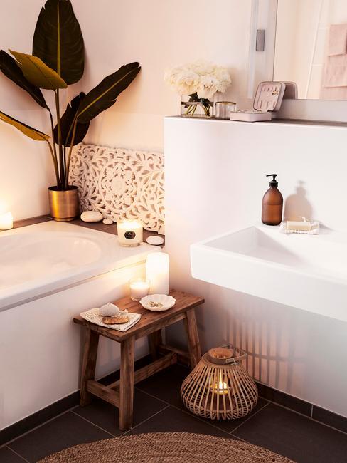 Wnętrza łazienki z wanną, dekoracyjami oraz rośliną
