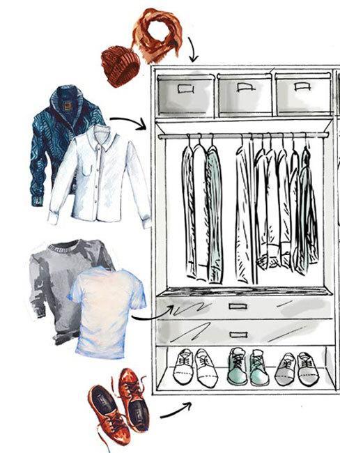 grafika westwing przestawiająca organizację szafy dla mężczyzny