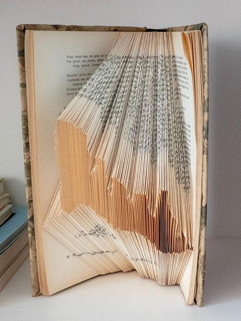 Otwarta książka z artystycznei pozaginanymi stronami