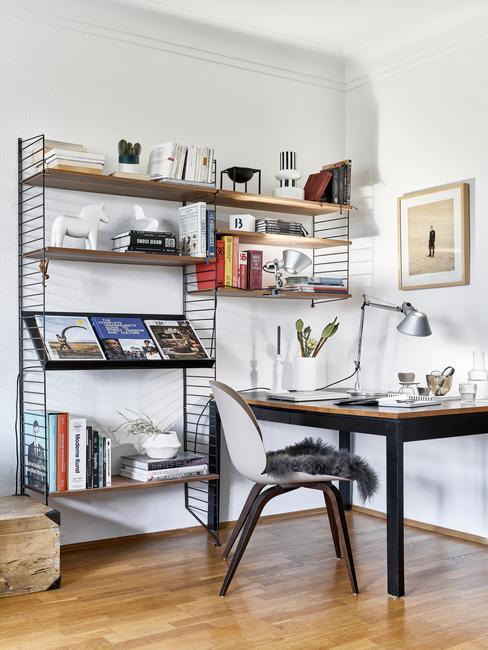 Kącik do pracy w mieszkaniu z drewnianym biurkiem, krzesłem, półkami z metalu