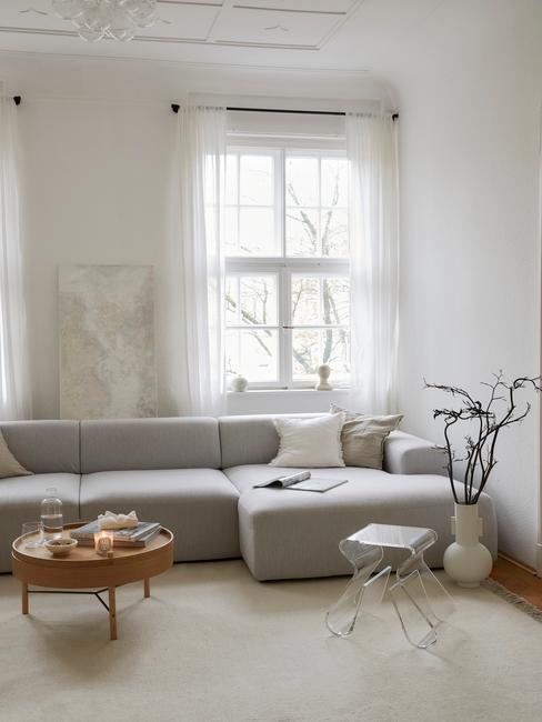 Salon w stylu japandi z szarą sofą, beżowym dywanem, drewnianem stoliczkiem, białym wazonem z gałęziami