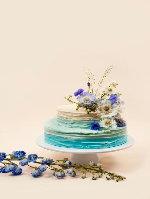 Zbliżenie na białą paterę z tortem urodzinowym ozdobionym w barwy ombre