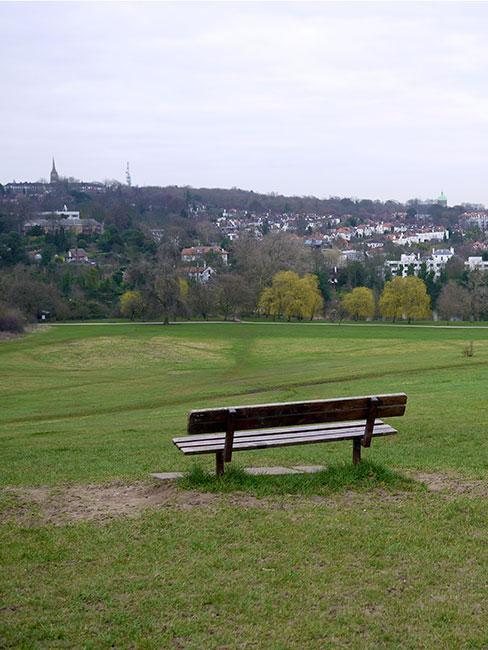 widok ze wzgórza w Hampstead heath w Londynie