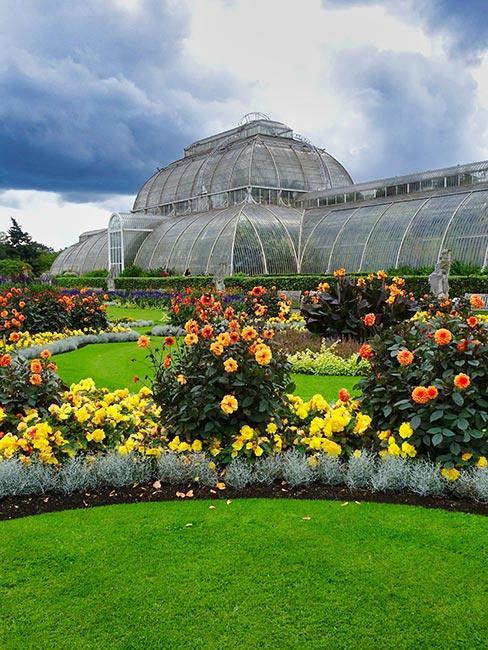 Szklarnia otoczona kwiatami w ogrodzie botanicznym w Londynie Kew Gardens