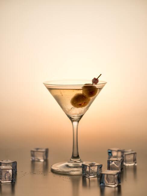 Zbliżenie na klieliszek z martini