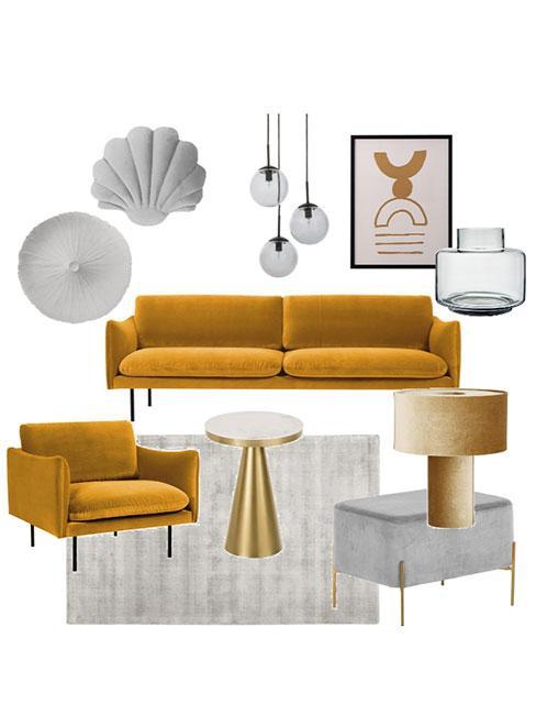 Moodboard z żółtą sofą i fotelem i szarymi dekoracjami
