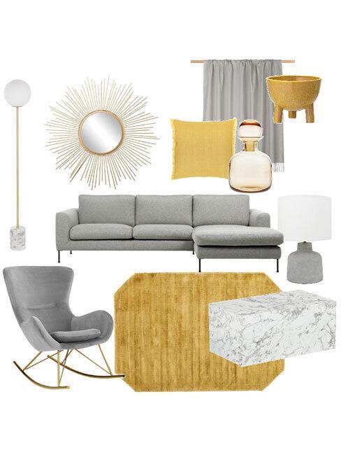 Moodboard z szarą sofą, szarym bujanym fotelem,lustrem słońce i żółtymi tekstyliami
