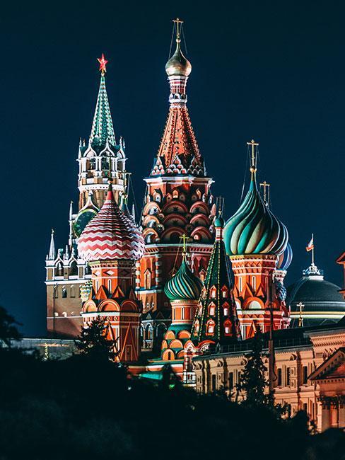 Sobór Wasyla Błogosławionego nocą w Moskwie