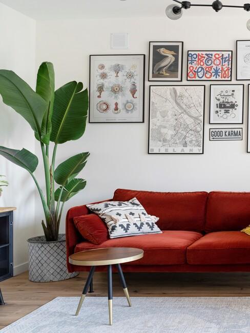 wnętrze salonu z czerwoną sofą, galerią ścianną oraz rośliną w kącie