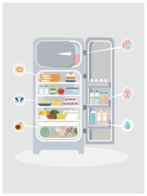 Infografika pokazująca jak powinna zostać ułożona żywność w lodówce