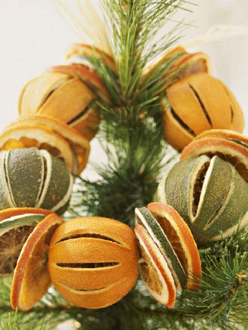 girlanda zrobiona z suszuonych pomarańczy na czubku choinki