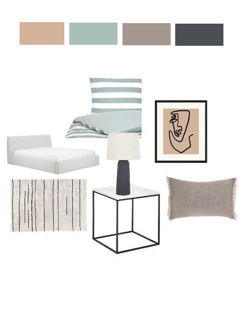 moodboard wnętrza sypialni z szraym łóżkiem, pościelą w zielone pasy i grafiką