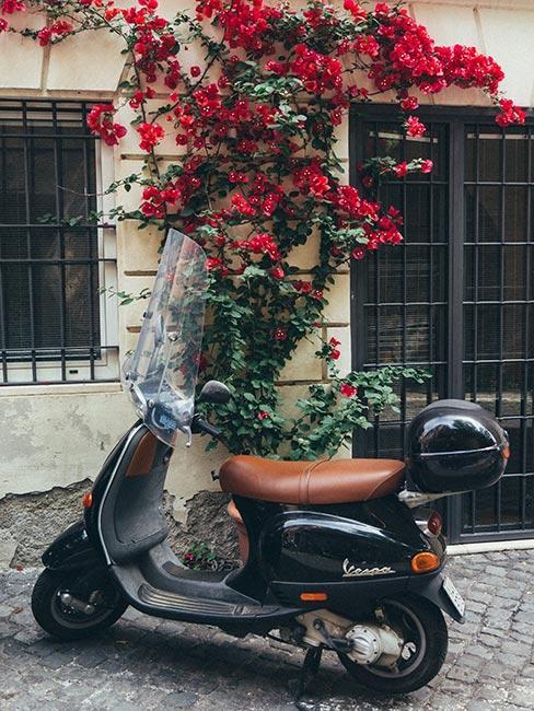 Zbliżenie na czarny skuter Vespa przed budynkiem