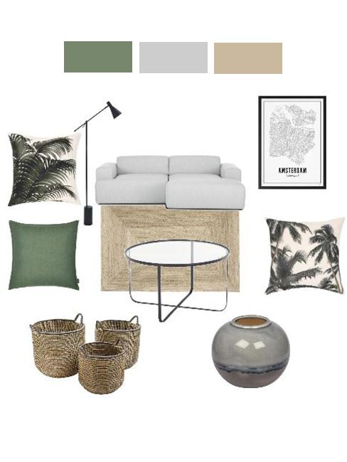 moodboard wnętrza z szarą sofą modułową, dywanem z juty i zielonymi tekstyliami