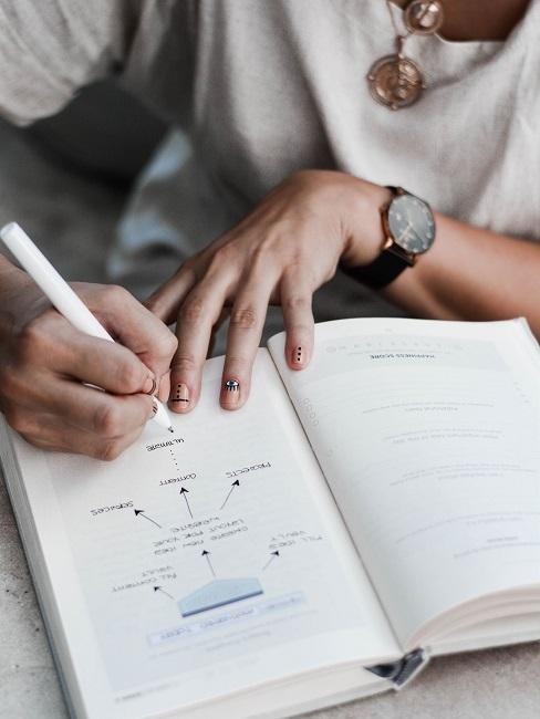 Zbliżenie na ręce piszące w pamiętniku