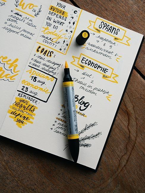 Bellet journal otwarty na stronie z żółtym pisakiem