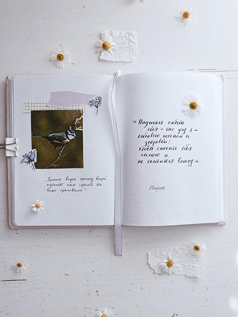 Otwarty bullet journal z wklejonym zdjęciem i suszonymi kwiatami