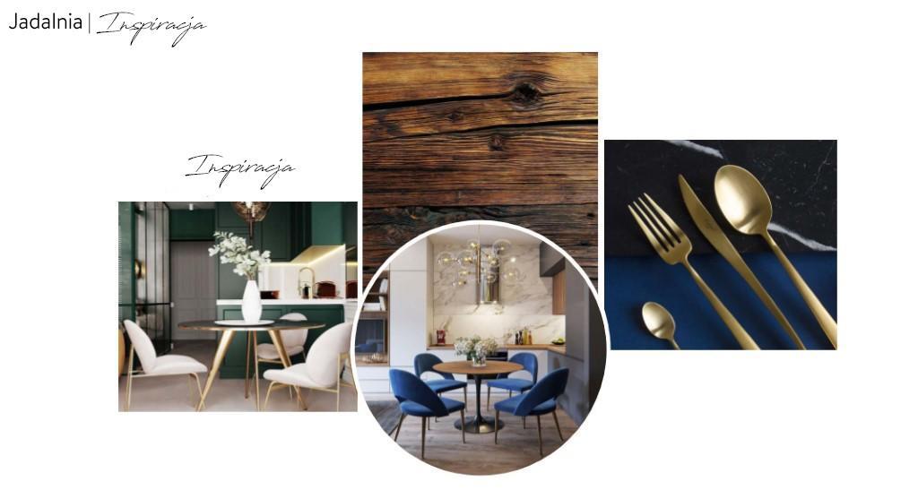 Moodboard z inspiracjami do niebieskiej jadalni na poddaszu w stylu modern glamour