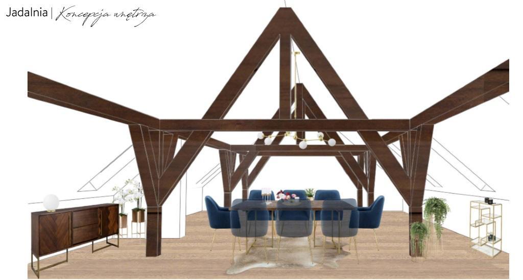 Projekt poddasza z drewnianymi belkami z jadalnią z grantaowymi krzesłami z aksamitu