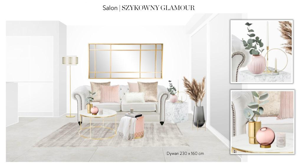 Projekt Westwing zakładający aranżację salonu w stylu glamour